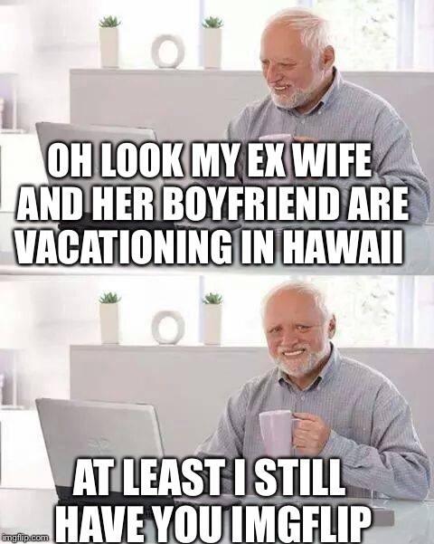 Hide the Pain Harold Meme | OH LOOK MY EX WIFE AND HER BOYFRIEND ARE VACATIONING IN HAWAII AT LEAST I STILL HAVE YOU IMGFLIP | image tagged in memes,hide the pain harold | made w/ Imgflip meme maker