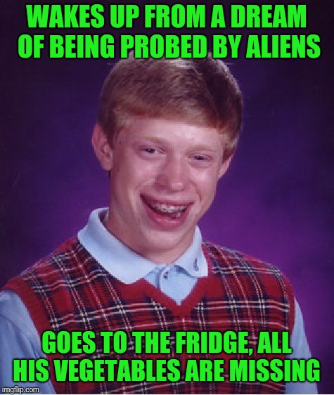 Bad Luck Brian Meme | WAKES UP FROM A DREAM OF BEING PROBED BY ALIENS GOES TO THE FRIDGE, ALL HIS VEGETABLES ARE MISSING | image tagged in memes,bad luck brian | made w/ Imgflip meme maker