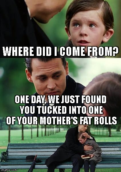 Finding Neverland Meme | WHERE DID I COME FROM? ONE DAY, WE JUST FOUND YOU TUCKED INTO ONE OF YOUR MOTHER'S FAT ROLLS | image tagged in memes,finding neverland | made w/ Imgflip meme maker