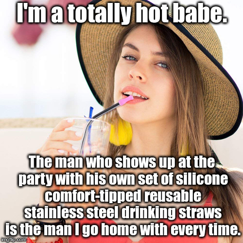 I'm a totally hot babe.  silicone comfort-tipped reusable stainless steel drinking straws | I'm a totally hot babe. The man who shows up at the party with his own set of silicone comfort-tipped reusable stainless steel drinking stra | image tagged in beautiful woman in hat with beverage,i'm a totally hot babe,silicone comfort-tipped,stainless steel drinking straws,sarcasm | made w/ Imgflip meme maker