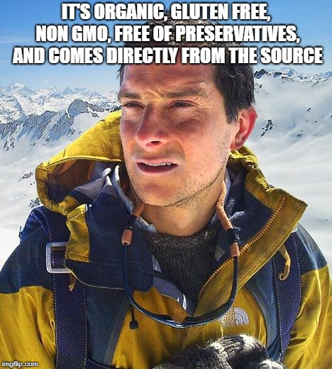 Bear Grylls Meme | IT'S ORGANIC, GLUTEN FREE, NON GMO, FREE OF PRESERVATIVES, AND COMES DIRECTLY FROM THE SOURCE | image tagged in memes,bear grylls | made w/ Imgflip meme maker