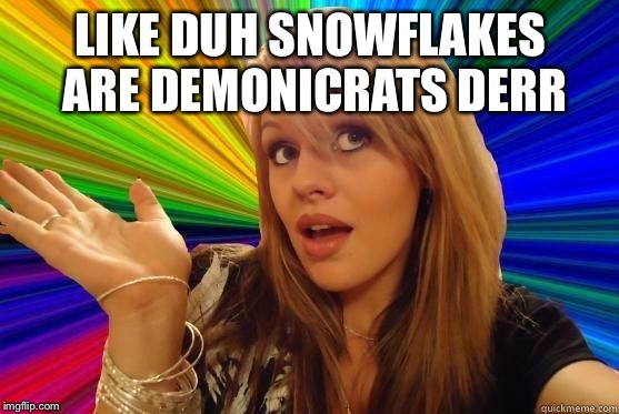 Dumb Blonde Meme | LIKE DUH SNOWFLAKES ARE DEMONICRATS DERR | image tagged in blonde dunce girl | made w/ Imgflip meme maker