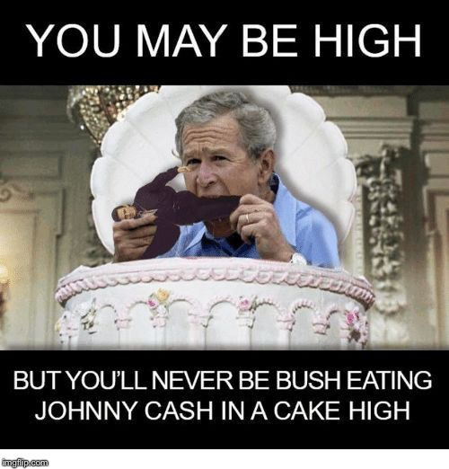 Johnny cash eating cake in a bush? | . | image tagged in george bush in cake high,hi times,weed man,meme me up scotty | made w/ Imgflip meme maker