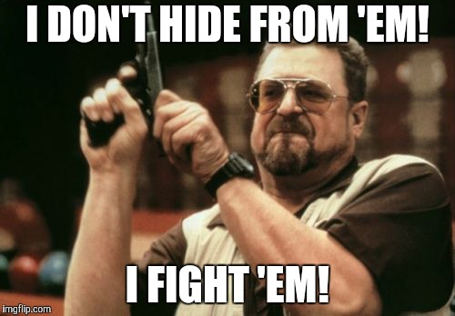 Am I The Only One Around Here Meme | I DON'T HIDE FROM 'EM! I FIGHT 'EM! | image tagged in memes,am i the only one around here | made w/ Imgflip meme maker