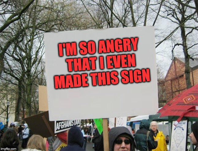St. Anger | I'M SO ANGRY THAT I EVEN MADE THIS SIGN | image tagged in blank protest sign | made w/ Imgflip meme maker