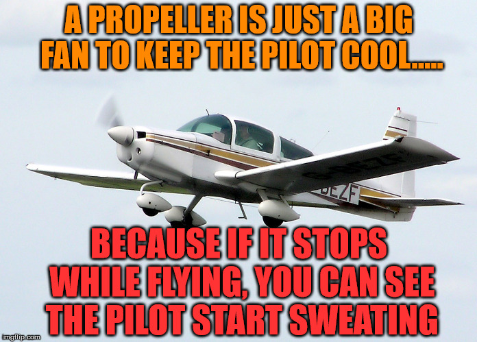 The propeller in front of the plane is nothing but a really big fan. | A PROPELLER IS JUST A BIG FAN TO KEEP THE PILOT COOL..... BECAUSE IF IT STOPS WHILE FLYING, YOU CAN SEE THE PILOT START SWEATING | image tagged in memes,flying,airplane,pilot,humor | made w/ Imgflip meme maker