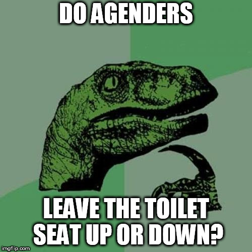 Philosoraptor Meme | DO AGENDERS LEAVE THE TOILET SEAT UP OR DOWN? | image tagged in memes,philosoraptor | made w/ Imgflip meme maker