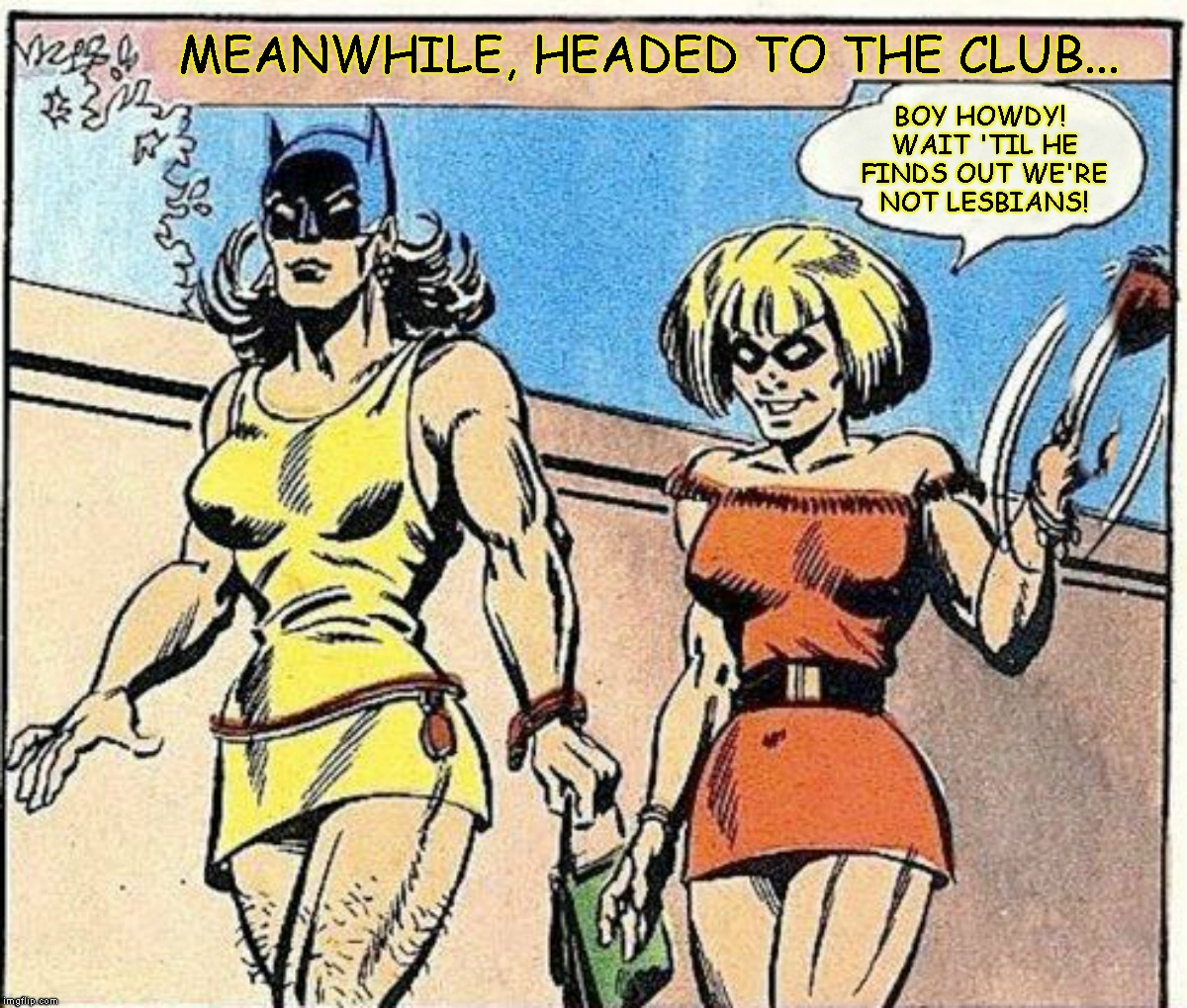 Them Hips Though | MEANWHILE, HEADED TO THE CLUB... BOY HOWDY! WAIT 'TIL HE FINDS OUT WE'RE NOT LESBIANS! | image tagged in batman and robin,batman,robin,tranny,wtf,that's not right | made w/ Imgflip meme maker