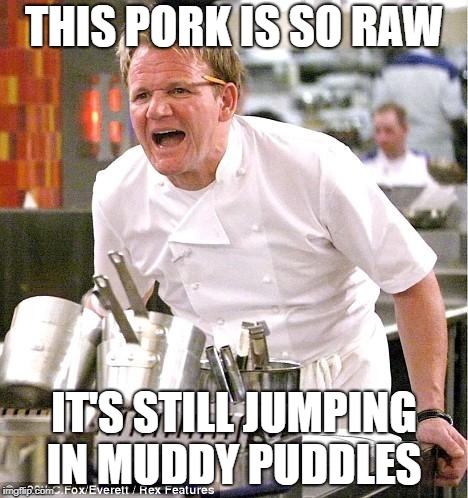 Chef Gordon Ramsay Meme | THIS PORK IS SO RAW IT'S STILL JUMPING IN MUDDY PUDDLES | image tagged in memes,chef gordon ramsay | made w/ Imgflip meme maker