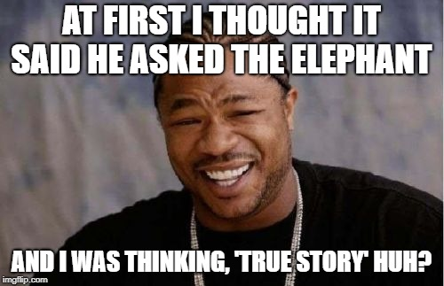 Yo Dawg Heard You Meme | AT FIRST I THOUGHT IT SAID HE ASKED THE ELEPHANT AND I WAS THINKING, 'TRUE STORY' HUH? | image tagged in memes,yo dawg heard you | made w/ Imgflip meme maker