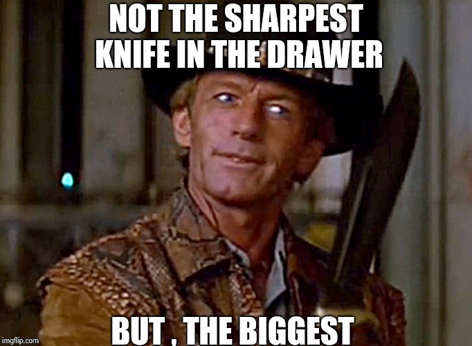 Crocodile Dundee Knife | NOT THE SHARPEST KNIFE IN THE DRAWER BUT , THE BIGGEST | image tagged in crocodile dundee knife | made w/ Imgflip meme maker