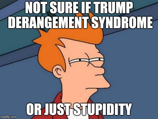 Futurama Fry Meme | NOT SURE IF TRUMP DERANGEMENT SYNDROME OR JUST STUPIDITY | image tagged in memes,futurama fry | made w/ Imgflip meme maker