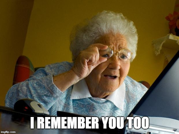 Old lady at computer finds the Internet | I REMEMBER YOU TOO | image tagged in old lady at computer finds the internet | made w/ Imgflip meme maker