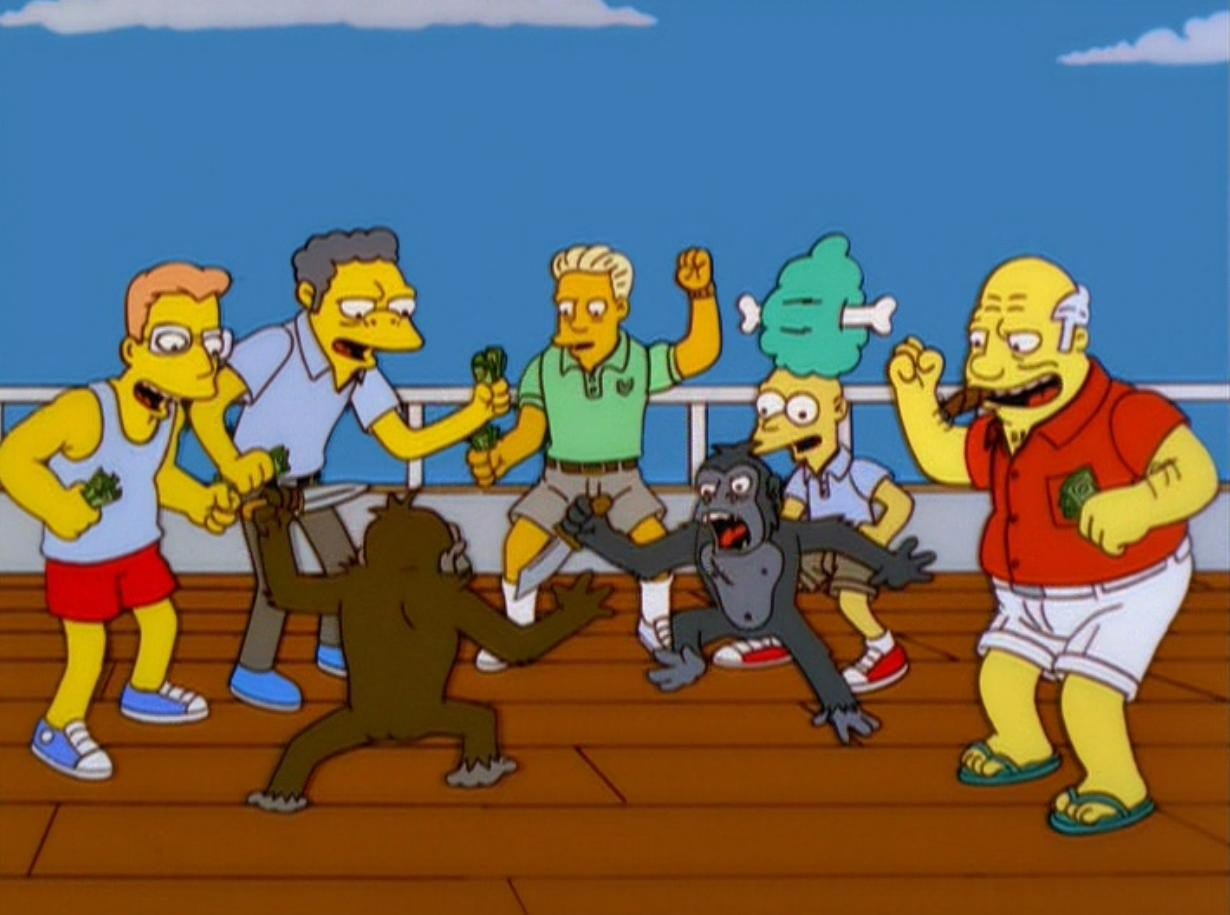 Simpsons Monkey Fight Blank Meme Template