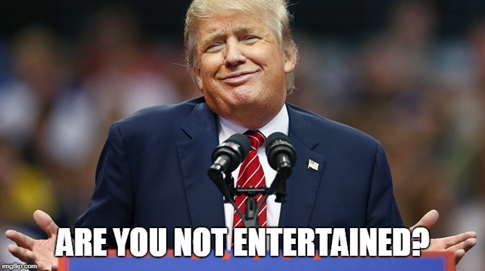 ARE YOU NOT ENTERTAINED? | image tagged in trump smug | made w/ Imgflip meme maker