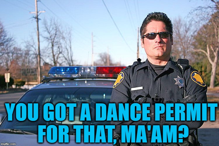 police | YOU GOT A DANCE PERMIT FOR THAT, MA'AM? | image tagged in police | made w/ Imgflip meme maker