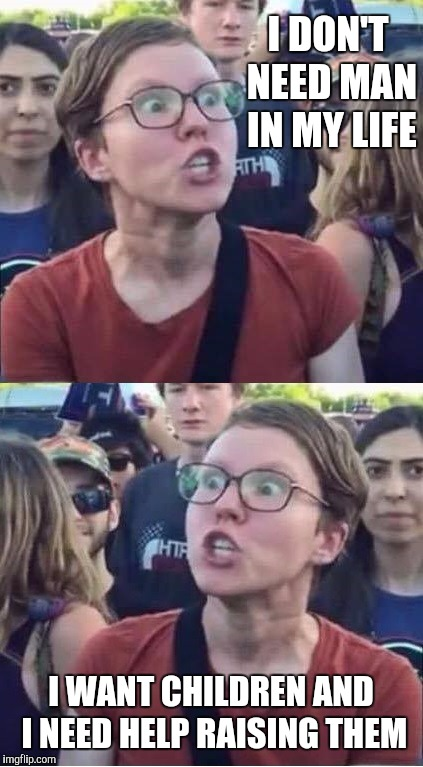 Angry Liberal Hypocrite | I DON'T NEED MAN IN MY LIFE I WANT CHILDREN AND I NEED HELP RAISING THEM | image tagged in angry liberal hypocrite | made w/ Imgflip meme maker