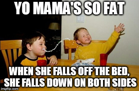 Yo Mamas So Fat |  YO MAMA'S SO FAT; WHEN SHE FALLS OFF THE BED, SHE FALLS DOWN ON BOTH SIDES | image tagged in memes,yo mamas so fat | made w/ Imgflip meme maker