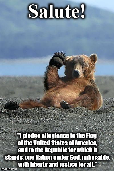 "Salute! ""I pledge allegiance to the Flag of the United States of America, and to the Republic for which it stands, one Nation under God, ind 