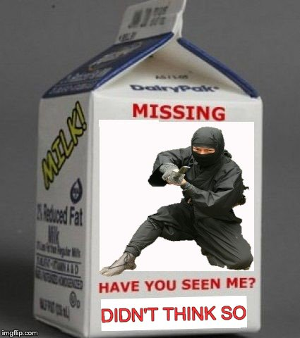 DIDN'T THINK SO | image tagged in ninja,milk carton | made w/ Imgflip meme maker