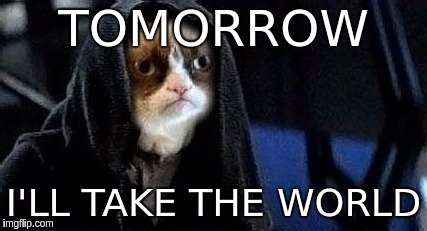 TOMORROW I'LL TAKE THE WORLD | image tagged in emperor grumpy cat palpatine | made w/ Imgflip meme maker
