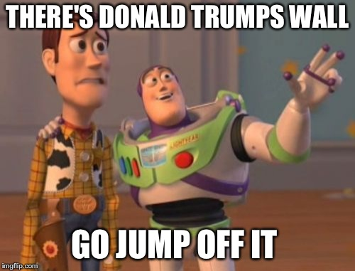 X, X Everywhere Meme | THERE'S DONALD TRUMPS WALL GO JUMP OFF IT | image tagged in memes,x x everywhere | made w/ Imgflip meme maker