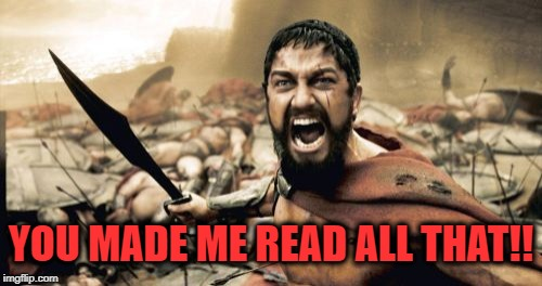 Sparta Leonidas Meme | YOU MADE ME READ ALL THAT!! | image tagged in memes,sparta leonidas | made w/ Imgflip meme maker