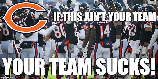 IF THIS AIN'T YOUR TEAM YOUR TEAM SUCKS! | image tagged in go bears,chicago bears,your team sucks,nfc north | made w/ Imgflip meme maker