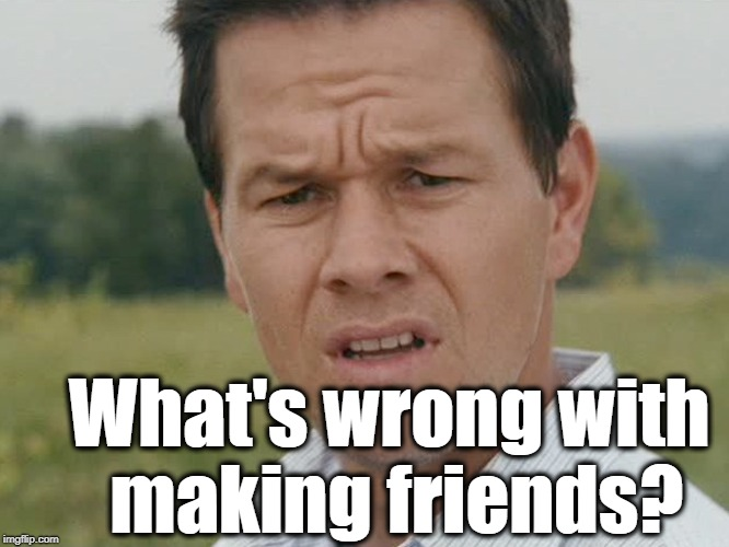 Huh  | What's wrong with making friends? | image tagged in huh | made w/ Imgflip meme maker