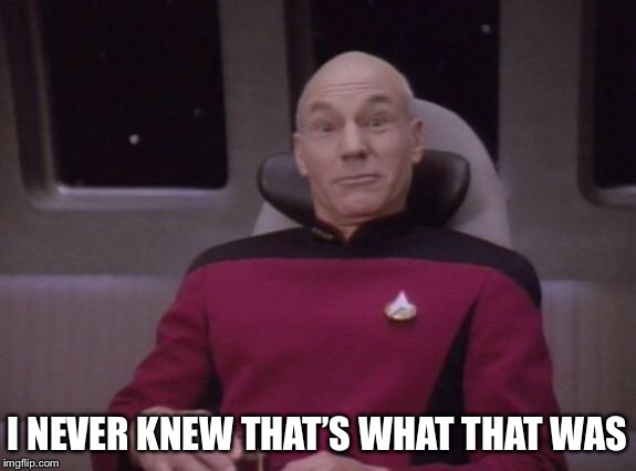 I NEVER KNEW THAT'S WHAT THAT WAS | image tagged in picard surprised | made w/ Imgflip meme maker