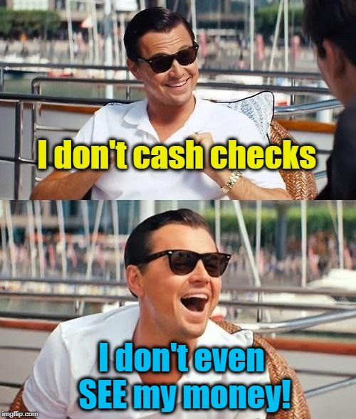 Leonardo Dicaprio Wolf Of Wall Street Meme | I don't cash checks I don't even SEE my money! | image tagged in memes,leonardo dicaprio wolf of wall street | made w/ Imgflip meme maker
