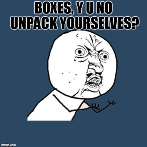 Y U No Meme | BOXES, Y U NO UNPACK YOURSELVES? | image tagged in memes,y u no | made w/ Imgflip meme maker