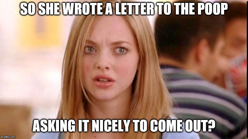 Dumb Blonde | SO SHE WROTE A LETTER TO THE POOP ASKING IT NICELY TO COME OUT? | image tagged in dumb blonde | made w/ Imgflip meme maker