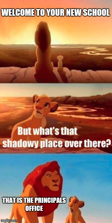 Simba Shadowy Place | WELCOME TO YOUR NEW SCHOOL THAT IS THE PRINCIPALS OFFICE | image tagged in memes,simba shadowy place | made w/ Imgflip meme maker