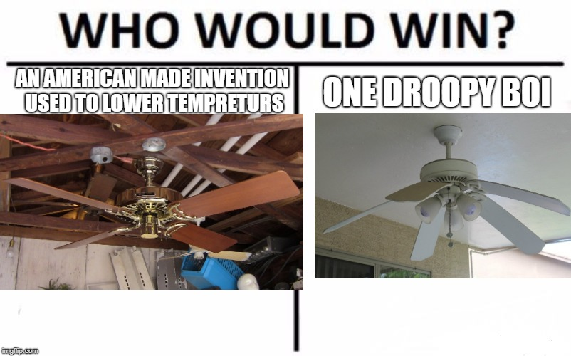 Who Would Win? Meme | AN AMERICAN MADE INVENTION USED TO LOWER TEMPRETURS ONE DROOPY BOI | image tagged in memes,who would win | made w/ Imgflip meme maker