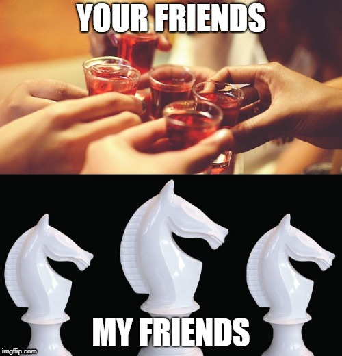 Quality | YOUR FRIENDS MY FRIENDS | image tagged in white knight | made w/ Imgflip meme maker