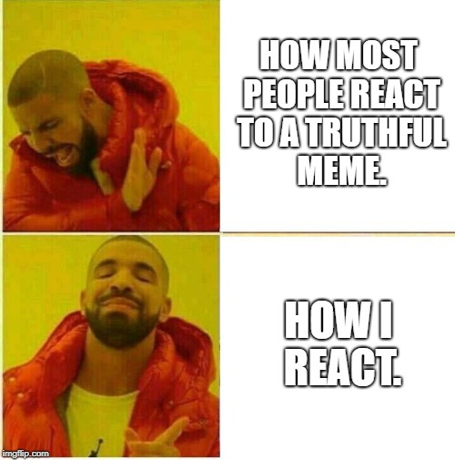 Tis The Truth | HOW MOST PEOPLE REACT TO A TRUTHFUL MEME. HOW I REACT. | image tagged in drake hotline approves,truth | made w/ Imgflip meme maker