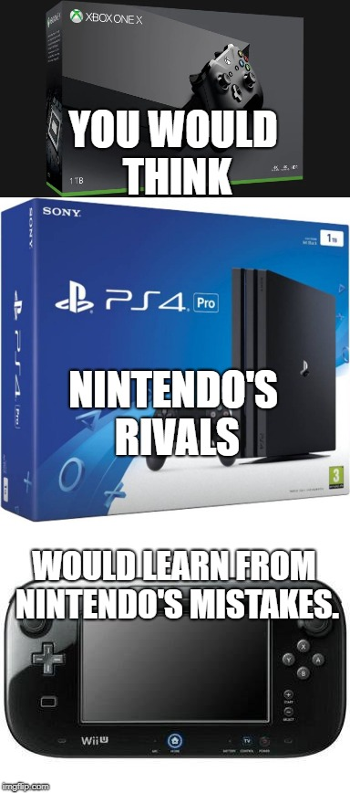 You Would Think | YOU WOULD THINK NINTENDO'S RIVALS WOULD LEARN FROM NINTENDO'S MISTAKES. | image tagged in nintendo,wii u,ps4,xbox,gaming | made w/ Imgflip meme maker