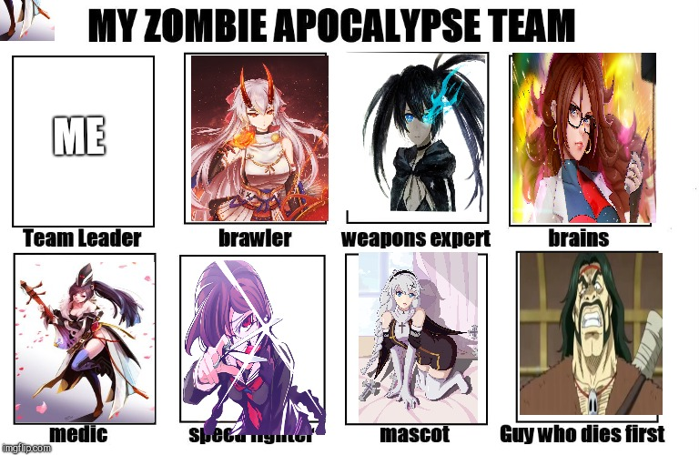 My Zombie Apocalypse Team | ME | image tagged in my zombie apocalypse team | made w/ Imgflip meme maker