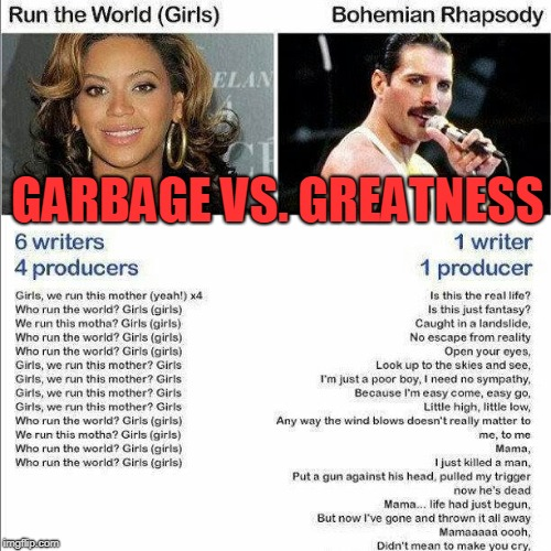 Kids Today Wouldn't Know Talent If It Kicked Them In The Ass |  GARBAGE VS. GREATNESS | image tagged in beyonce,freddie mercury,comparison,so true | made w/ Imgflip meme maker