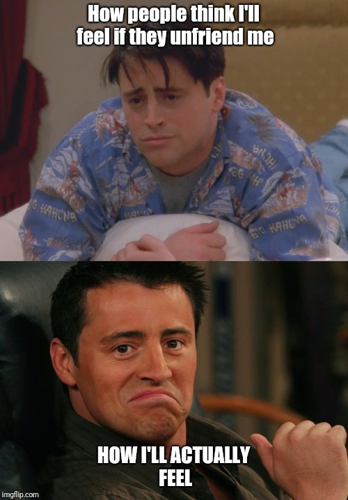 Joey be like.. | How people think I'll feel if they unfriend me HOW I'LL ACTUALLY FEEL | image tagged in facebook,friends | made w/ Imgflip meme maker