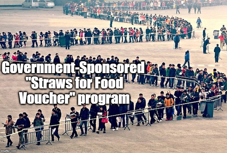 "long line | Government-Sponsored ""Straws for Food Voucher"" program 