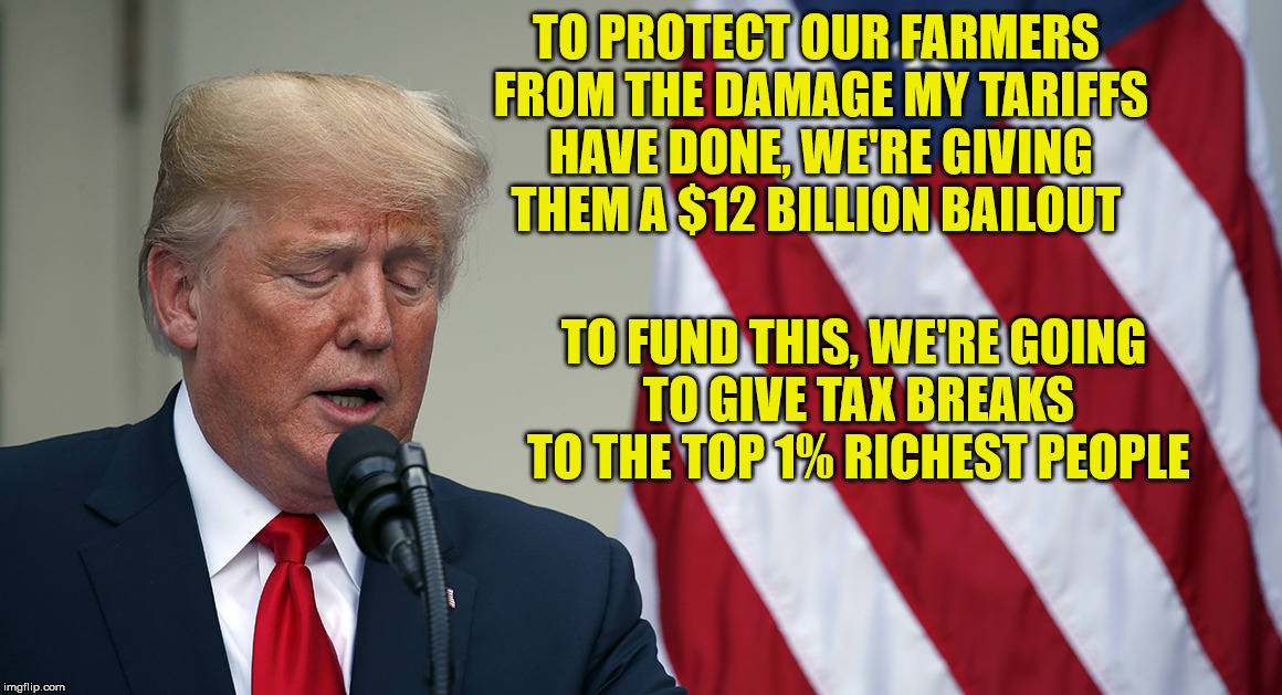 When capitalism doesn't work. | TO PROTECT OUR FARMERS FROM THE DAMAGE MY TARIFFS HAVE DONE, WE'RE GIVING THEM A $12 BILLION BAILOUT TO FUND THIS, WE'RE GOING TO GIVE TAX B | image tagged in trump speech with flag,farmers aid | made w/ Imgflip meme maker