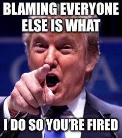 Trump Trademark | BLAMING EVERYONE ELSE IS WHAT I DO SO YOU'RE FIRED | image tagged in trump trademark | made w/ Imgflip meme maker