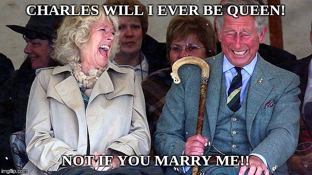 Camilla and Charlie |  CHARLES WILL I EVER BE QUEEN! NOT IF YOU MARRY ME!! | image tagged in prince charles,british royals,disgrace,idiot,inbred | made w/ Imgflip meme maker