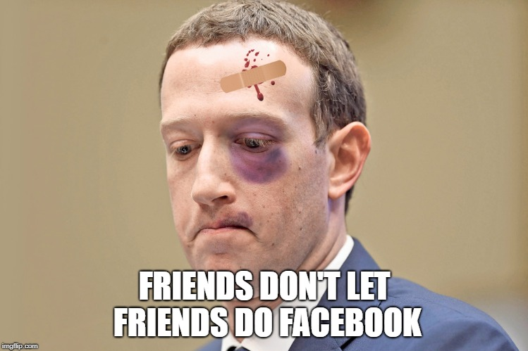 FRIENDS DON'T LET FRIENDS DO FACEBOOK | image tagged in zuckercrash | made w/ Imgflip meme maker