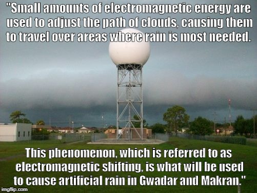 "NexRad EMF | ""Small amounts of electromagnetic energy are used to adjust the path of clouds, causing them to travel over areas where rain is most needed. 