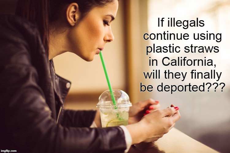 Question about straws... | If illegals continue using plastic straws in California, will they finally be deported??? | image tagged in illegals,california,deported,use straws | made w/ Imgflip meme maker