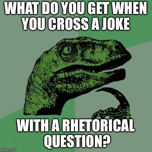Philosoraptor Meme | WHAT DO YOU GET WHEN YOU CROSS A JOKE WITH A RHETORICAL QUESTION? | image tagged in memes,philosoraptor | made w/ Imgflip meme maker