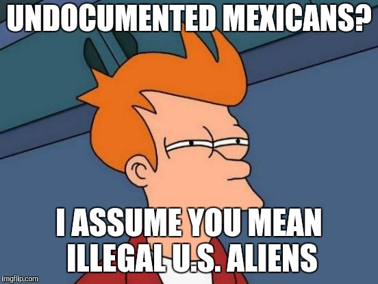 Futurama Fry Meme | UNDOCUMENTED MEXICANS? I ASSUME YOU MEAN ILLEGAL U.S. ALIENS | image tagged in memes,futurama fry | made w/ Imgflip meme maker